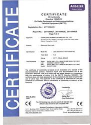 CE certificate for Bonwin Electronic Door Lock