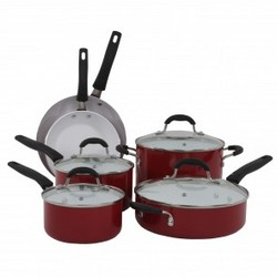 Oneida 10pc Red Aluminum Cookware Set