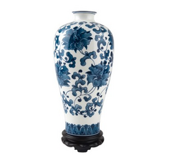 手绘骨瓷花瓶-釉下青花大富贵瓶(带木托)