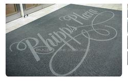 英达罗拼色雕刻Logo标识地垫