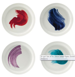 沙拉盘Er-go! Set of 4 x 20cm Salad Plates (Swish) (Pattern)