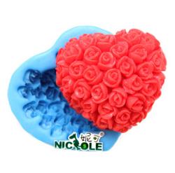 妮可情人节玫瑰花手工巧克力模具硅胶手工皂模DIY手工皂模具R0461