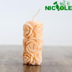 妮可LZ0079 立体圆柱玫瑰 硅胶蜡烛模具手工皂香皂食品模具