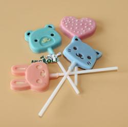 妮可棒棒糖模 DIY烘焙兔子小熊心型巧克力模具 硅胶 B0234