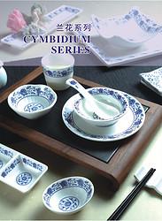 美耐皿 兰花系列 圆盘 椭圆盘 波纹碗 韩国碗 豆油碟 日本勺