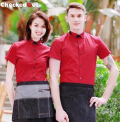 酒店服务员夏季短袖工作服男女