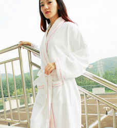 粉色绣花浴袍 女士长袖睡衣