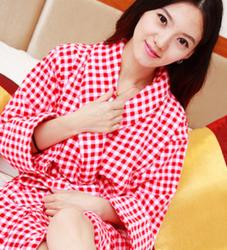 纯棉酒店浴袍红色珊瑚绒浴衣