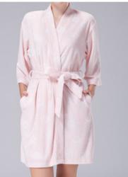 女士春秋季薄款提花毛巾料浴袍