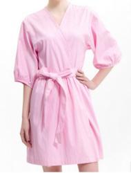 全棉薄款浴袍女士纯棉中袖