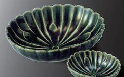 菊形钵 織部