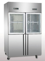 四门上玻下钢冰箱