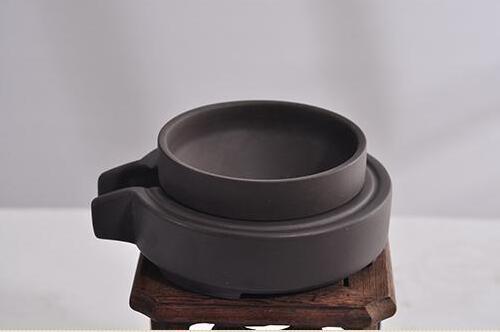 黑陶土石磨型茶漏