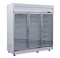 3 door upright glass door freezer