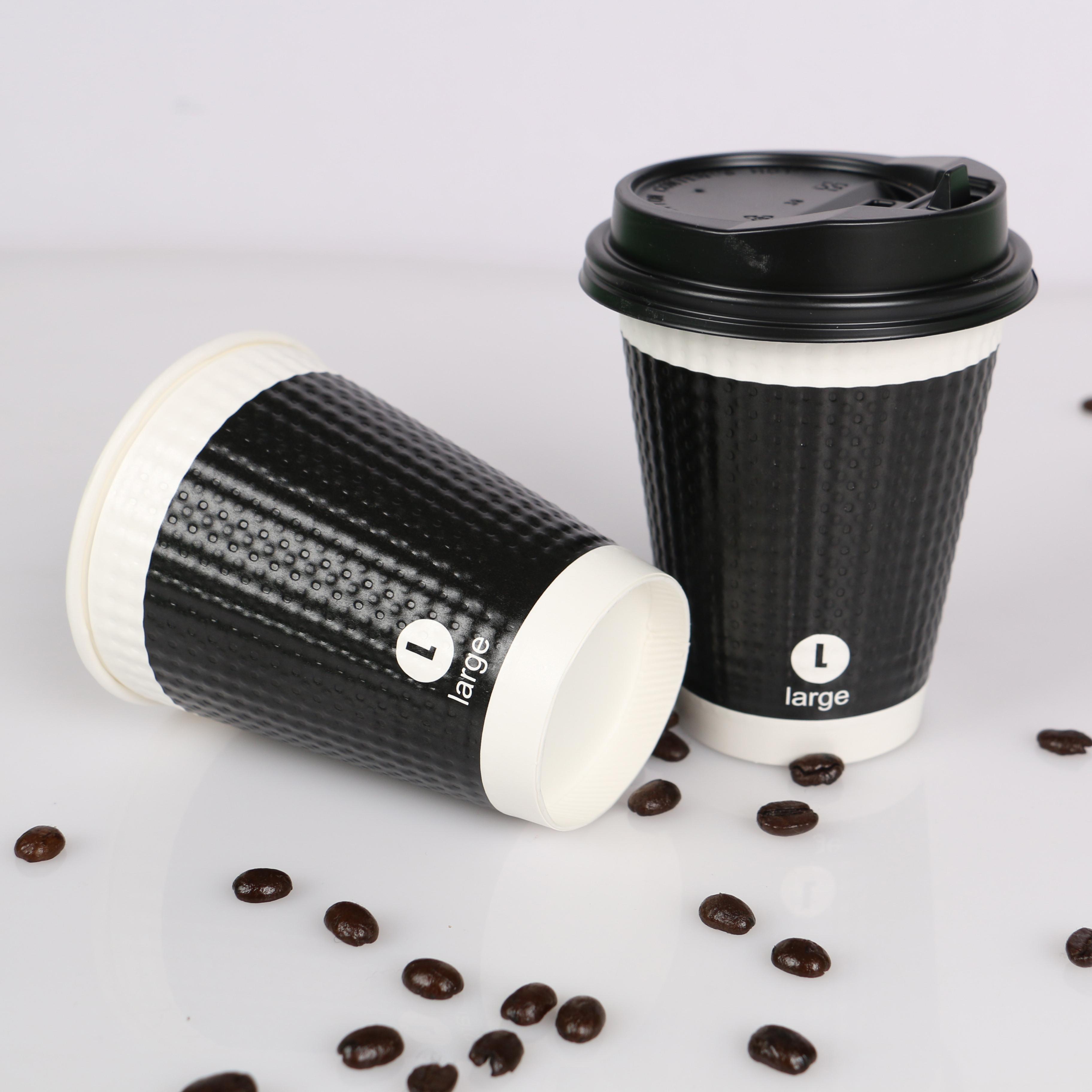 庞度纸杯一次性纸杯12oz凹凸奶茶咖啡果汁杯双层加厚瓦楞杯100只