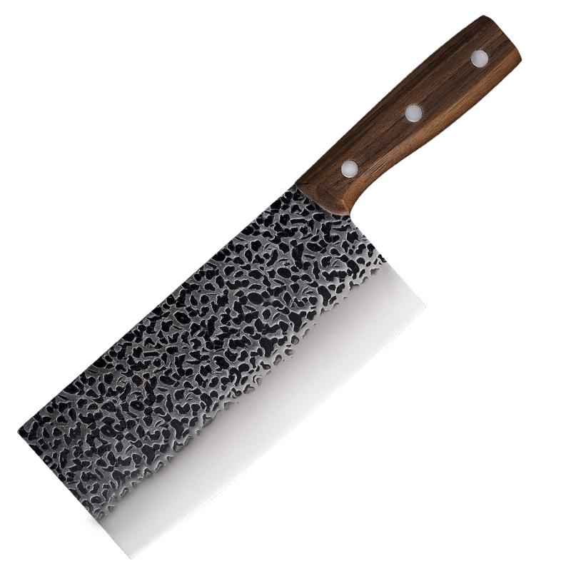 现货手工锻打锤纹菜刀不锈钢砍骨刀厨房切片刀实木手柄砍切刀批发