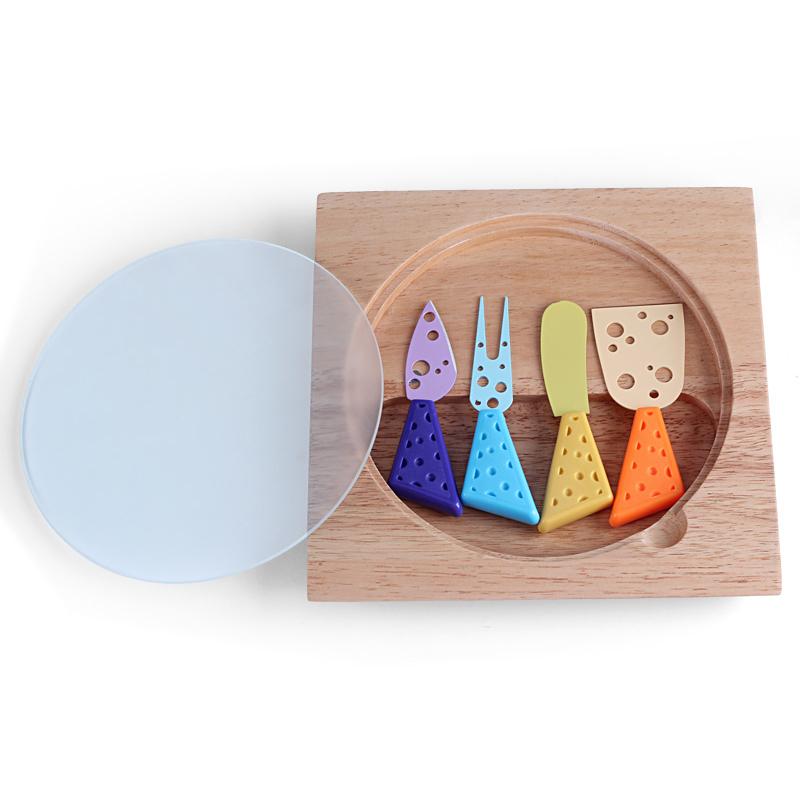 竹制奶酪刀盒刀具套装 芝士刀具套装 不锈钢芝士刀具 竹制厨房用