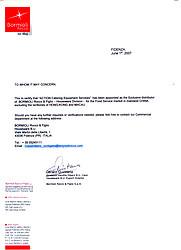 Bormioli Rocco  Authorization letter