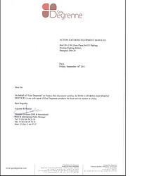 Degrenne Paris  Authorization letter