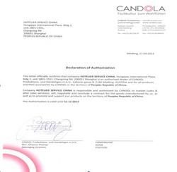 CANDOLA授权书